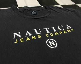 Vintage Nautica shirt spell out logo Size L nautica jeans company