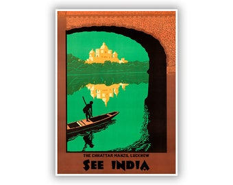 See India Travel Poster, Chhattar Manzil Lucknow Tourism Art, Vintage Style Print, Multiple Size Options