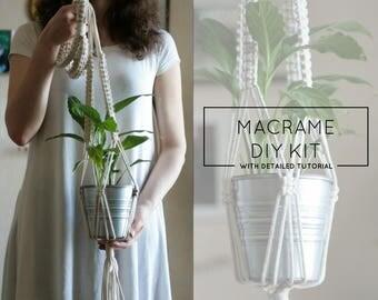 Macrame Kit - Plant Hanger Kit, DIY Kit, DIY Tutorial, Rope Hanging Planter, Macrame Plant Holder, Macrame Planter, Macrame Tutorial