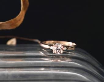 Elegant Morganite Engagement Ring Natural 5mm Round Cut Peach Morganite Ring Gemstone Bridal Ring Stackable 14K Rose Gold Anniversay Ring