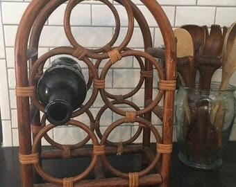 Boho Vintage Bamboo Rattan Wine Rack