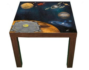 Space kids room furniture sticker – Ikea hack Lack sticker for play tables/storage. - Furniture not included.