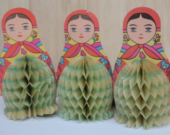 Three beautiful paper nesting dolls,Soviet Vintage Christmas Tree Ornaments,Collectible USSR  Christmas decorations,Christmas ornaments 20