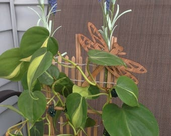 Houseplant Trellis for Plant Support- With Dragonfly & Lavender