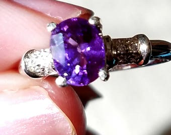 Real Sapphire Ring,  Purple Sapphire 1.60 cts. Ring, Lavender Sapphire Ring, Sapphire in Sterling Ring size 6.25