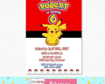 Pokemon Birthday Invitation Pokemon Invitation Pokemon Birthday Card Pokemon Party Pokemon GO Invitation Pikachu Pokeball Invitation