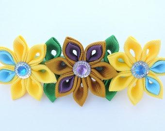 Kanzashi fabric flower hair clip. Kanzashi hair clip. Japanese hair clip. Kanzashi hair flower.