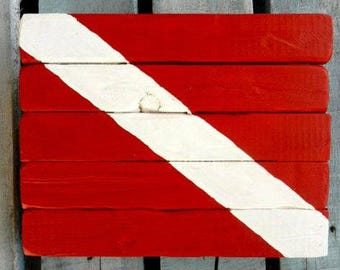SCUBA art, Dive art, Dive flag painting, Florida diving, Shark dive, Ocean art, Coastal Decor