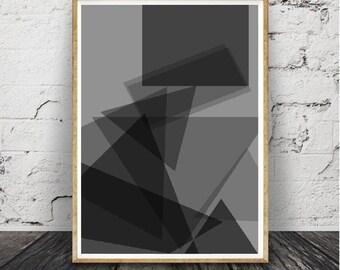 Géométrique sticker imprimé, imprimable, Black Rose et menthe verte Decor, abstrait, moderne au milieu du siècle, Télécharger imprimable