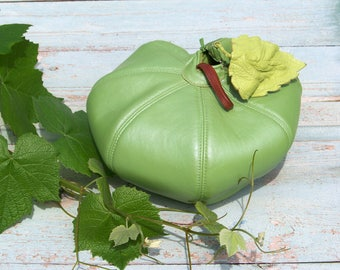 Apple green leather pouches Bright green leather handbag Electric green round leather bag Unique round leather handbag Electric green purse