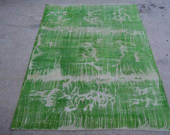 Turkish Distressed Green Vintage  Rug 8.1 x 11 Ft