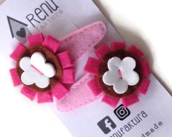 FLOWER Hair Clip, Barrettes, Girls Hair Clip, Hair Accessories, Felt Hair Clip, Baby Hair Clippies, Girl Barrette with flower for girls