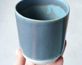 Blue grey satin ceramic mug