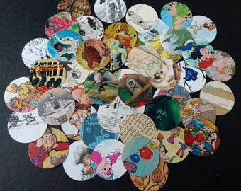 Vintage Paper Circles Inspiration Pack Ephemera for Junk Journals, Scrapbooks, Collage, Decoupage, Paper Crafts
