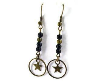 black and bronze earrings