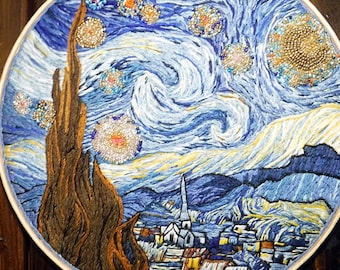 """Starry Night - Vincent Van Gogh - 10"""" Embroidery Hoop Art- Hand Stitched Embroidery Hoop Art- Wall Decor - Fine Art Embroidery - Home Decor"""