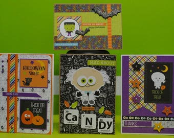 "Greeting Cards - Halloween - set of 4 handmade unique pieces - Doodlebug ""Boos & Brewd"" - bat, pumpkin, cat, crazy scientist, ghost"