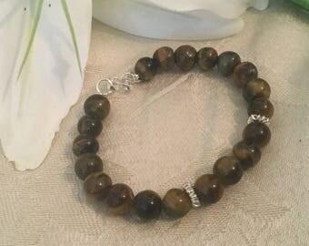 Sterling Silver Tiger's Eye Bracelet, Tiger's Eye Bracelet. Brown Bracelet, Natural Stone Bracelet