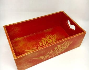 Red trinket tray, hand painted desk organiser, desk tidy, storage box,