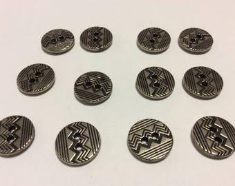 1 Dozen Vintage Metal Art Deco Silver, 2 Holes Buttons,15mm