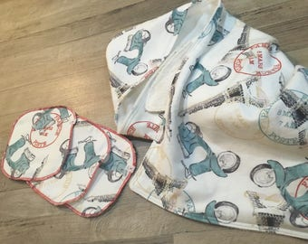 Hooded Baby Towel - Bamboo Terry - Vespa
