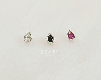 Tiny Teardrop Piercing, 925 silver, 18 Gauge, Cartilage earring, Tragus stud, Tragus earring, Helix, tiniest stud, ball screw earring