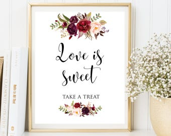Love is Sweet, Love is Sweet Take a Treat Sign, Rustic Wedding Sign, Love is Sweet Wedding Sign, Wedding Reception Sign, Sweet love