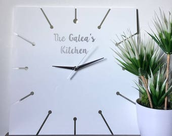 Personalized Customized Kitchen Modern Wall Clock Family Name