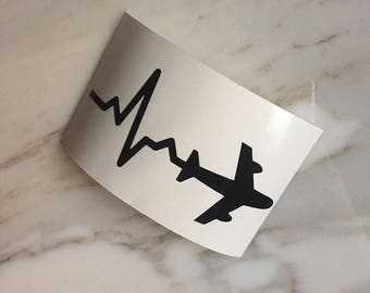Heartbeat Plane Decal | Travel | Flight Attendant Gift