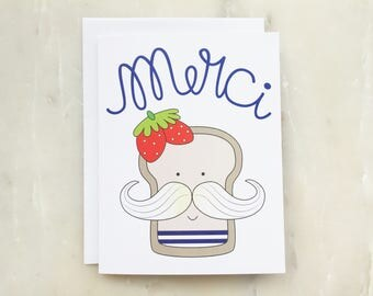 Funny Thank You Card - Merci, French Toast, Thank You Card, Funny Card, Merci Carte, French Toast Card, Food Card