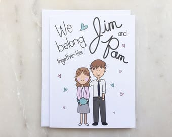 The Office Tv Show Card - Pam and Jim Card, Dunder Mifflin Card, Love Card, Anniversary Card, Engagement Card