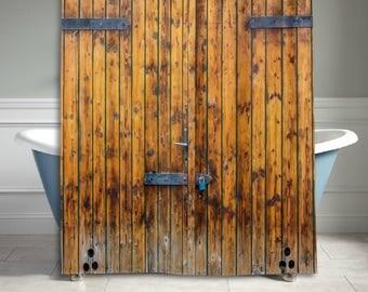 Old Yellow Wooden Door Shower Curtain Bathroom Decor Home Decor