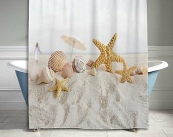 Starfish Seashell Beach Sand Shower Curtain Bathroom Decor Home Decor