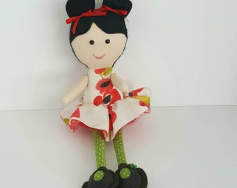 Rag Doll, textile girl doll. Interior doll, rag dolls. Stuffed girl doll, girl stuffed doll, ballerina doll.
