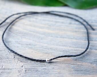 Black String Bracelet Sterling Silver Cord Bracelet Wish Bracelet Silver String Black Cord Friendship Kabbalah Bracelet Red String of Fate