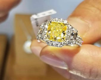 "Natural Fancy INTENSE YELLOW GIA ""Canary"" VVS1 2.07ctw Engagement Ring"