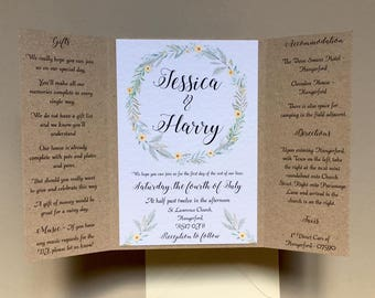 Natural Greenery Wedding Invitation set, Rustic, Pocketfold