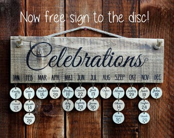 Family celebration board, Birthday board, Family birthday sign, Family birthday board, Family birthdays wall hanging.Now 25 free signed disc