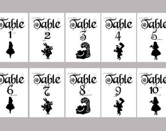 ID - Alice in Wonderland Table Numbers