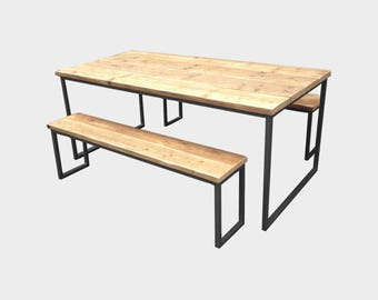 Handmade Reclaimed Dining Table Set - Industrial Style, Wood & Steel
