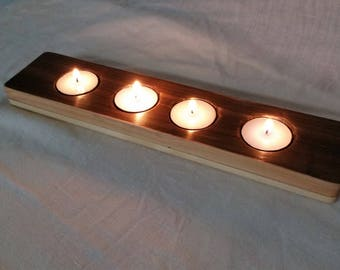 Tea Light, candle holder, promotional, reclaimed wood. candle, stain