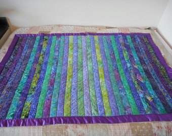 Purple and Green Batik Lap Quilt, Sofa throw blanket in tropical stripes