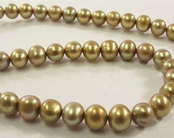 6 - 6.5 mm Champagne OR Silver Gray Potato Freshwater Pearl Beads, Genuine Pearl Beads, Cultured Freshwater Pearl Beads (516-PMIX0665)