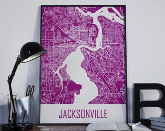 Jacksonville Map Street Map Map of Jacksonville City Map Jacksonville Map Art Travel Map Home Decor Travel Map Map Poster Wall Art Map Photo