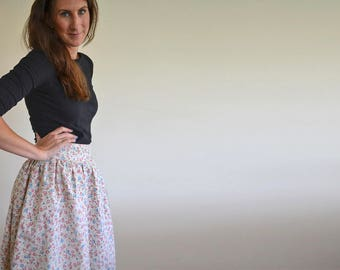 "Handmade vintage ditsy print skirt in pink and blue size UK 12 / 30"" waist, Gathered summer skirt handmade using vintage floral fabric"