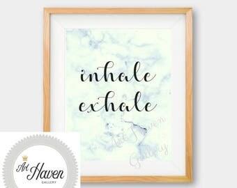 Inhale Exhale Print, Inhale Exhale PRINTABLE, Inhale Exhale Poster,Marble Decor, Marble Print, Marble Wall Art, Yoga Print, Pilates Print