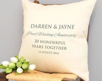 Personalised Pearl Wedding Anniversary Cushion