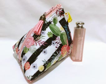 Cactus ans Stripe Cosmetic Bag, Tropical Make up Bag, Small  Make up Bag, Triangle Shape with Attachment Clip, Gift for Her, Coin Purse.