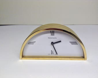 Tiffany & Co. Solid brass mantle/desk clock