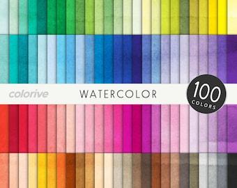 Watercolor digital paper 100 rainbow colors water colour background textures brights pastels neutrals printable scrapbooking paper